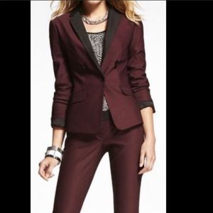 Express burgundy with black lapel blazer sz.8